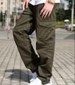 Militar Estilo Loose Fit Baggy Pantalones Cargo de Los Hombres Multi Pocket Pantalones de carga Para Los Hombres Pantalones Rectos Ocasionales Del Algodón Con El Lado bolsillos