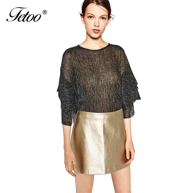 Nueva Manera de LA PU Faldas de Cuero de Imitación de Plata de Oro Cremallera Todo Fósforo sólido de la Alta Cintura Mini Una Línea de Falda de Las Mujeres Saia Alta Calidad P40