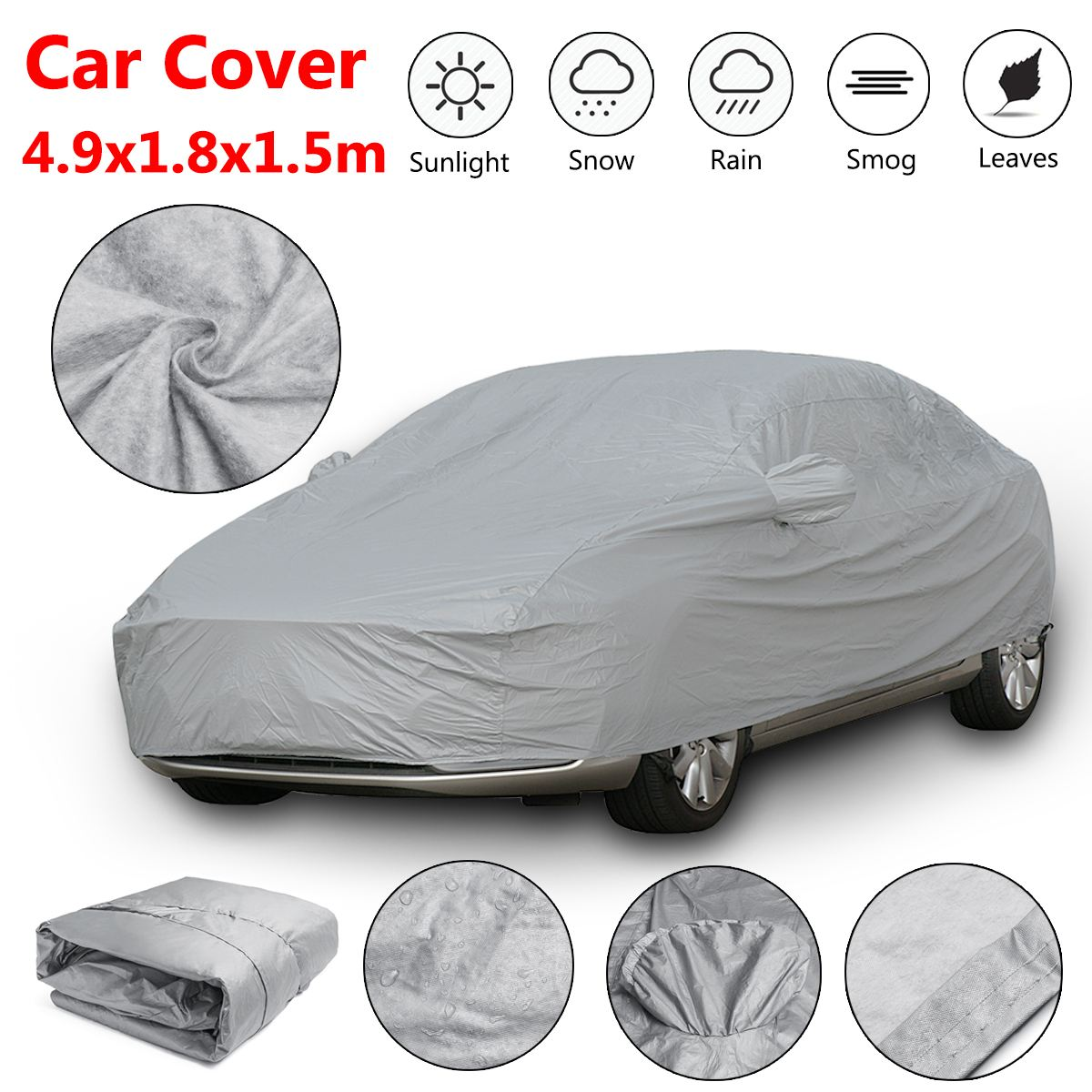 Universal XL Full Car Cover Cotton Waterproof Breathable Rain Snow Protection