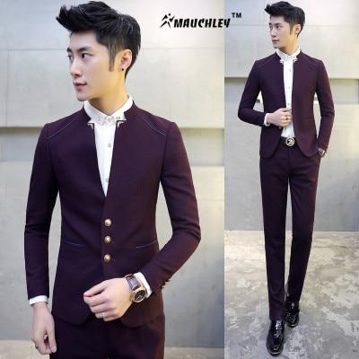 MAUCHLEY 2PCS / Készlet Slim Fit Prom Homme Férfi jelmez Esküvői - Férfi ruházat - Fénykép 2