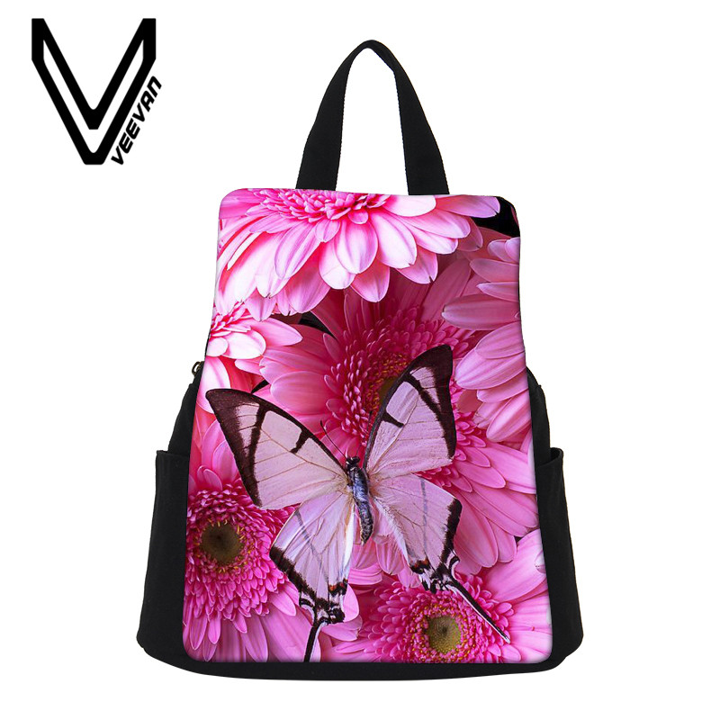 VEEVANV Colorfully Beautiful Butterfly Printing Backpacks Canvas Laptop Travel Backpack For Teenager Girl Rucksacks Best Gifts