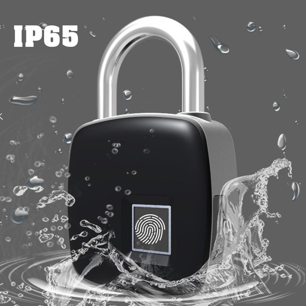 Generous Keyless Electronic Fingerprint Lock Usb Rechargeable Intelligent Ip65 Waterproof Anti-theft Security Padlock Door Luggage Lock Strong Resistance To Heat And Hard Wearing Access Control Electric Lock