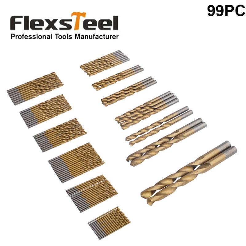 Flexsteel 99 db 1,5-10 mm-es HSS fém csavarfúró készlet, titán bevonatú Broca 118 fokos fúrócsavarok fémszerszámokhoz