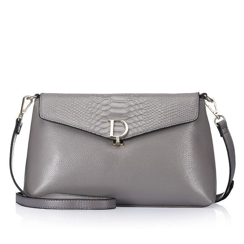 QIANGSHILI Brand Fashion Split Leather Letter Small Chain Clutch Flap Crossbody Luxury Handbags Women Bags Designer