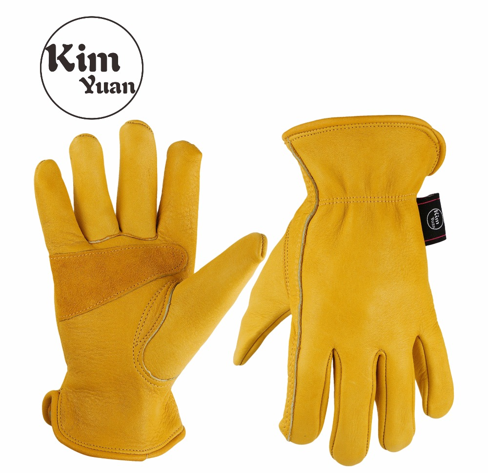 KIM YUAN 020 Golden Cowhide Work Gloves For Gardening/Cutting/Construction/Motorcycle, Wear-Resistant Men/Women,  Elastic Wrist