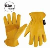KIM YUAN 020 Golden Cowhide Work Gloves for Gardening/Cutting/Construction/Motorcycle, Wear-Resistant Men/Women,  Elastic Wrist