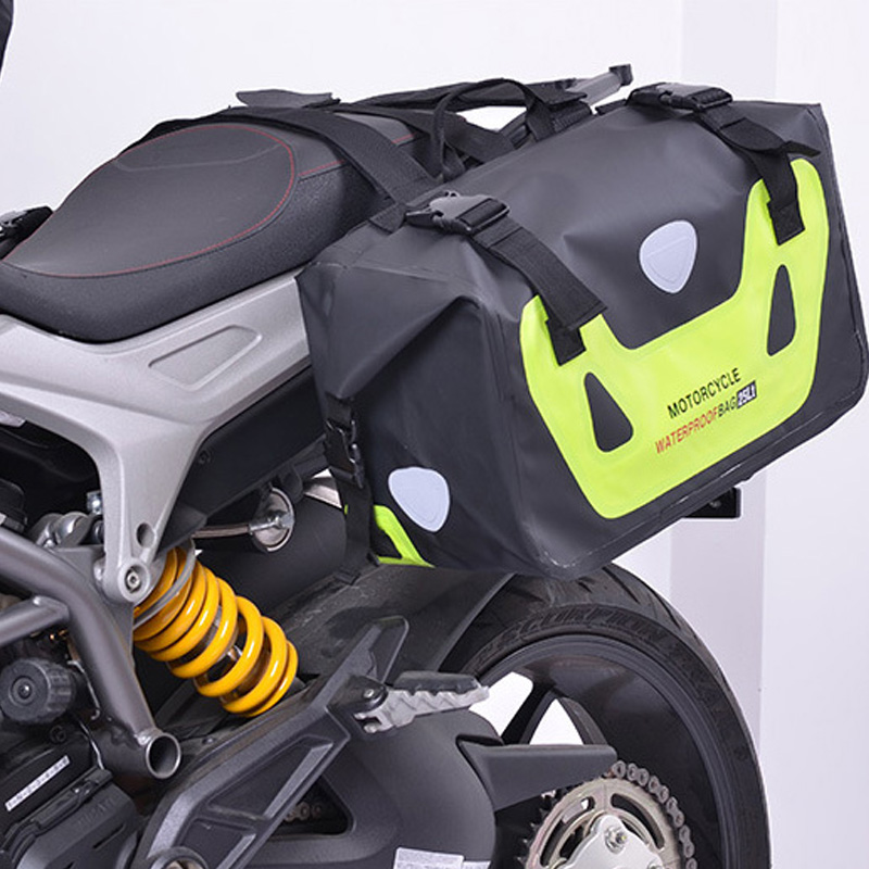 Universal 1 Pairs Green Motorcycle PVC Water Proof Saddle Bag Luggage Storage Outdoor Travelling Bag Large Capacity For Ducati