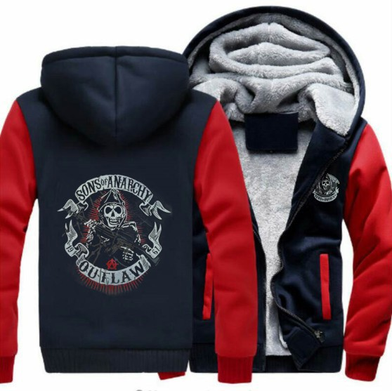 Sons Anarchy Samcro Jax winter Print Mens Hoodies Jacket Coat Thicken Sweaterwear