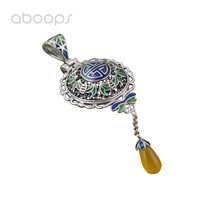 Vintage 925 Sterling Silver Enamel Filigree Necklace Pendant with Yellow Stone for Women Girls Free Shipping