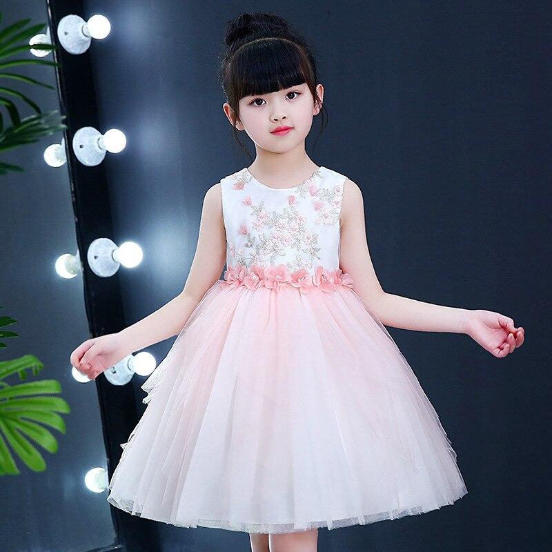 2018 Wedding Girls Flower Dress O neck Hand made Beaded Vestidos Formal Eleghant Costume Kids Girl's Clothing RKF184092