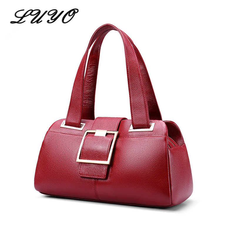 LUYO Real Genuine Leather Bag For Woman Luxury Handbags Women Shoulder Bags Designer Female Purse Tote Top-handle Bags Boston luyo genuine leather casual tote big bag handbag basket shoulder top handle bags female women designer handbags bolsa feminina