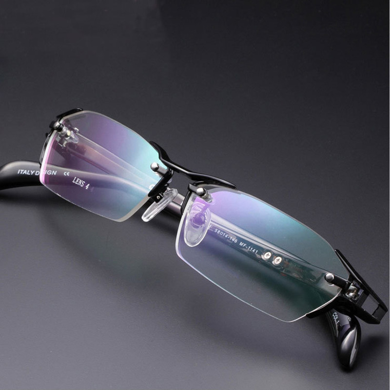 Tout nouveau 100% titane pur sans monture lunettes cadres hommes myopie optique lunettes cadre Prescription lunettes oculos de grau - 5