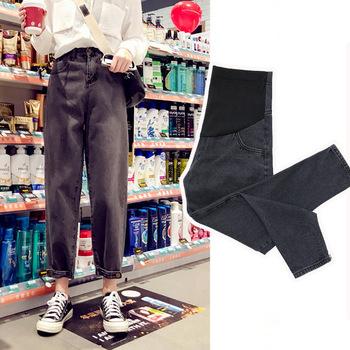 Ubrania ciążowe nowe jeansy ciążowe proste luźne spodnie ciążowe rzodkiewka spodnie dla kobiet w ciąży wiosna lato odzież tanie i dobre opinie MTANGBAO COTTON Poliester NYLON Macierzyństwo MTB031801 Natural color Przycisk vintage WOMEN Denim