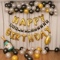 Ballons Decoration Birthday Set 12inch black silver gold latex Balloons Foil letter baloons For Party Decoration kids