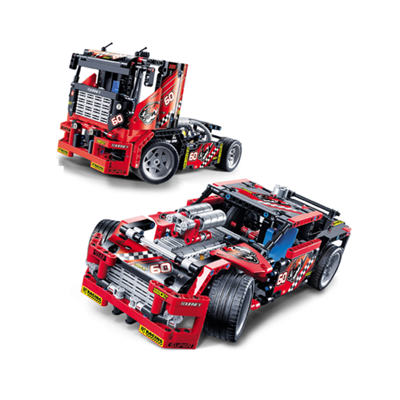 608pcs Race Truck Car 2 In 1 Transformable Model Building Block Sets Decool 3360 DIY Toys Compatible With  Technic decool 3360 race truck building toys for children toy set boy car racers car gift compatible with lepin bela 8041