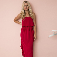 Red Dresses Sleeveless Strap Cotton Mid calf Loose Boho 2019 Flowers Empire Fashion Spaghetti O neck Summer dresses New Dress