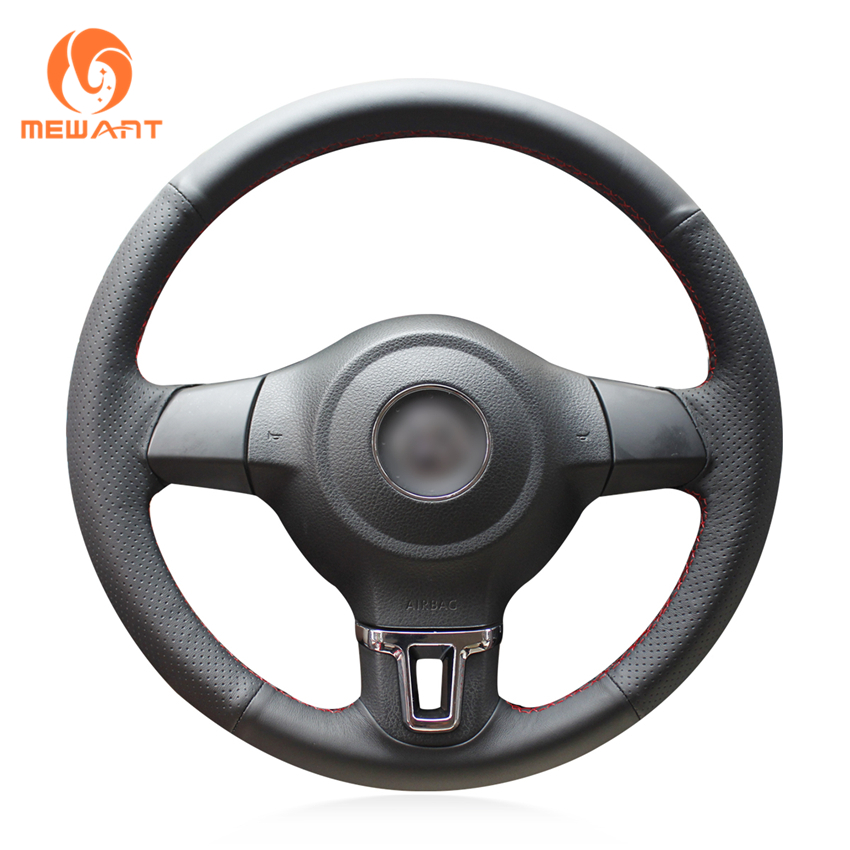 MEWANT Black Artificial Leather Car Steering Wheel Cover for Volkswagen Golf 6 Mk6 VW Polo MK5 2010-2013 цена
