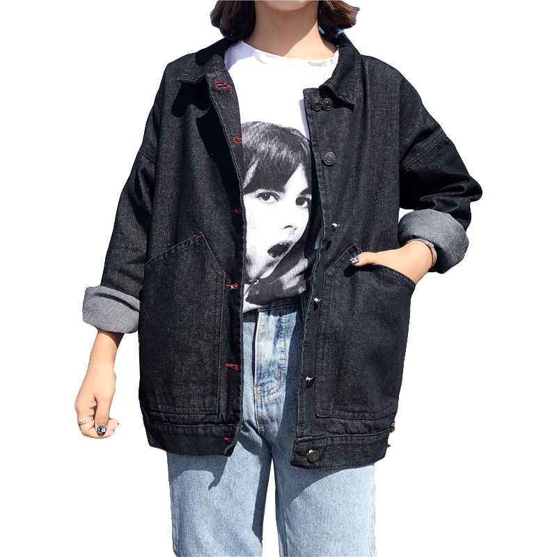 Harajuku Style Denim   Jacket   For Women 2019 New Black Jean   Jacket   Women Casual Loose   Basic   Coat Spring Female   Jacket