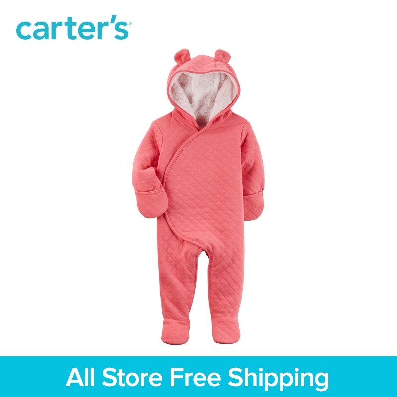 Carter's 1-Piece baby children kids clothing Girl Fall & Winter Sherpa-Lined Hooded Bunting 127G639 цены