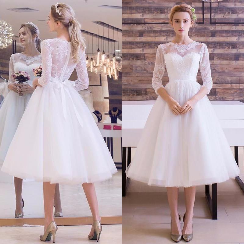 White Informal Short Wedding Dresses 2017 With 3/4 Sleeves