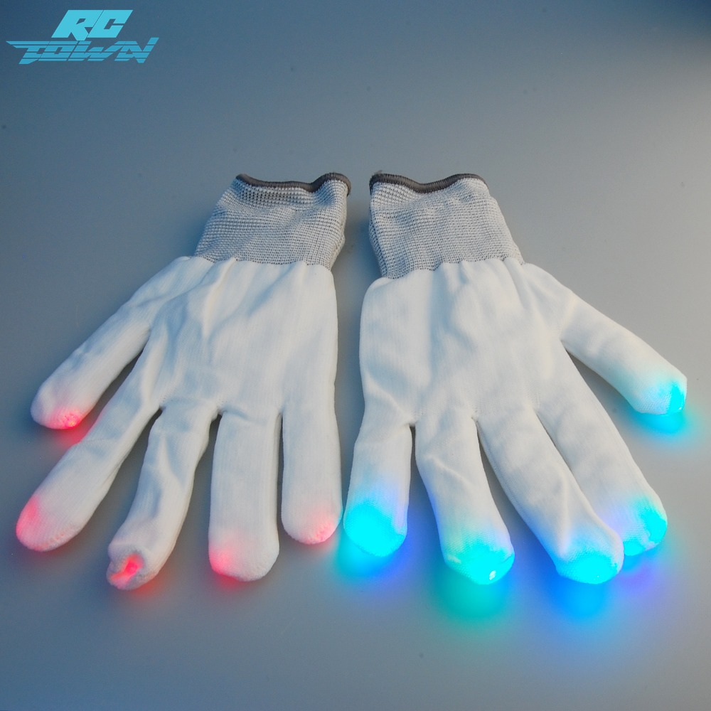 RCtown 6 Modes Multicolor Raver Gloves Red+Green+Blue LED Lights in Each Fingertip Novelties for Parties-ZK 15%