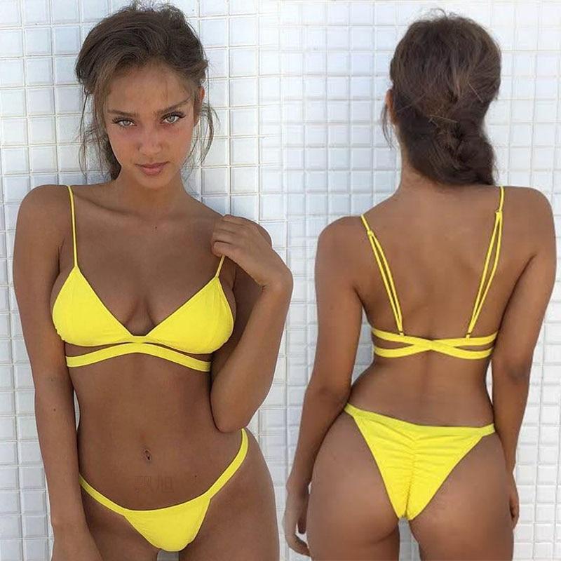 Four Persons Powers Swimsuit cover ups Striped two piece swimwear 2017 Bikini set Women Sexy Push up NK108 la blanca women s printed cover ups