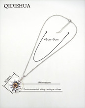 30CM Round Shell and Antique Silver Edelweiss 4 Colors Pendant Necklaces