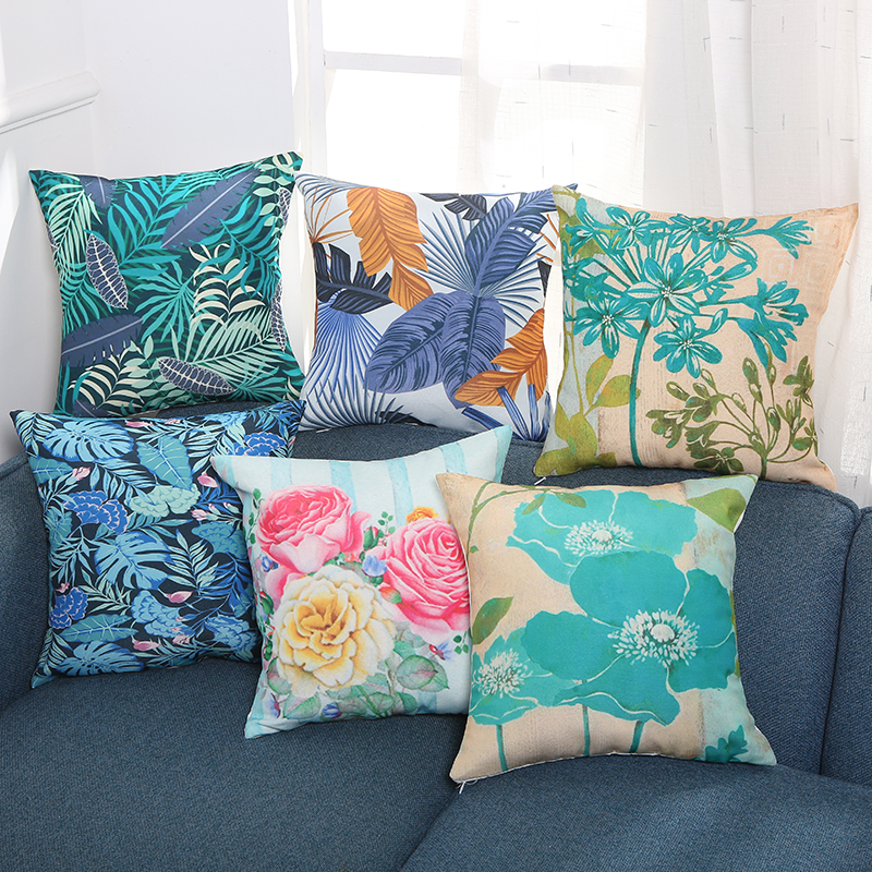 Cushion Cover Creative Household Idyllic Waterproof Printed Pillowcase Office Furniture SofaBed Chair Car
