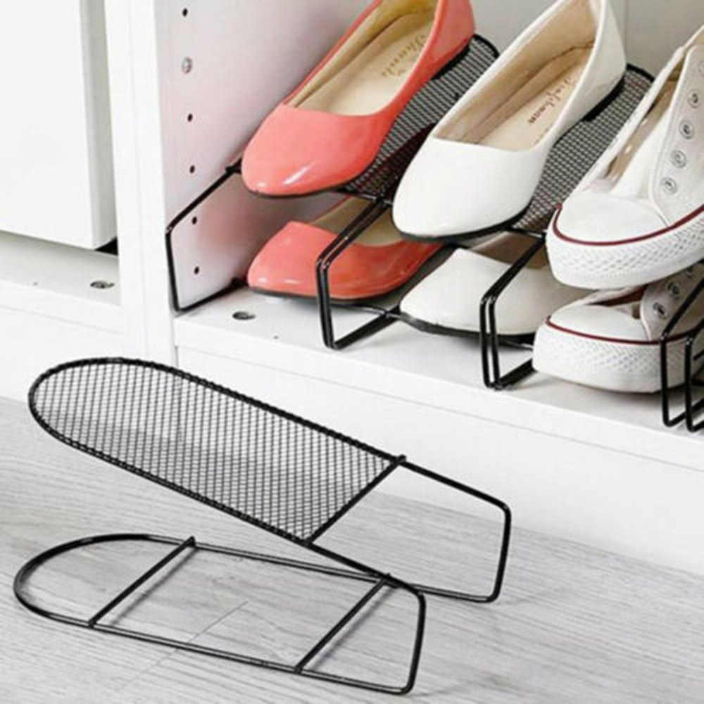 1pcs Iron Double Layers Shoe Organizer Modern Shoe Rack Storage Shoe Organiser Stand Shelf for Living Room Space Saver