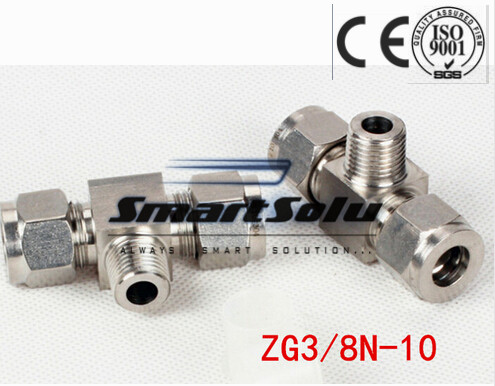 Free shipping Tee Union Stainless Steel Connector Fitting,ZG3/8N-10 Thread, Homebrew Fitting,Straight terminal fittings free shipping 30pcs peg 10mm 8mm pneumatic unequal union tee quick fitting connector reducing coupler peg10 8