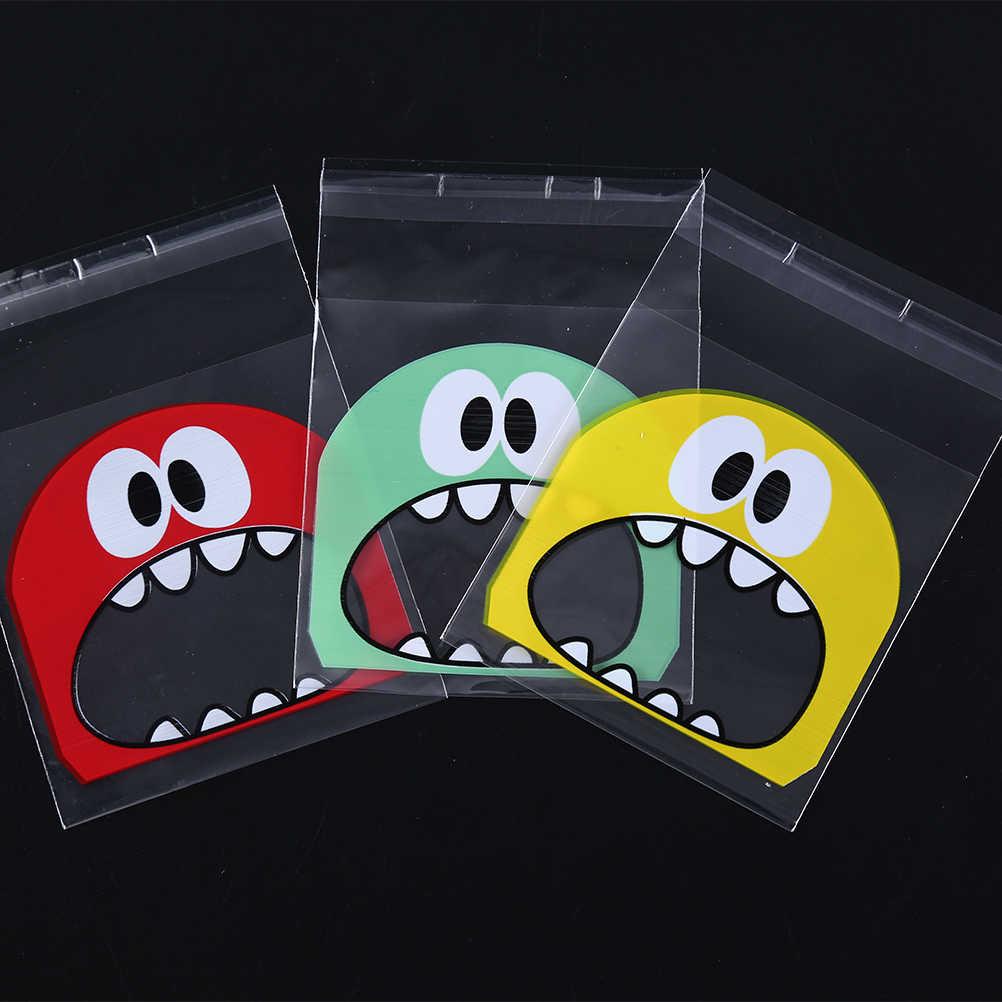 100 pcs/lote 7*7 cm mais 3 cm de plástico saco pequeno monstro bonito pouco saco de biscoito doce biscoito biscoito sacos