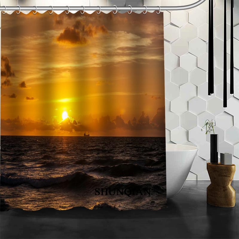 Best Nice Custom Boat At Sunset Shower Curtain Bath Curtain Polyester Fabric Bathroom Curtain MORE SIZE A6.1-14