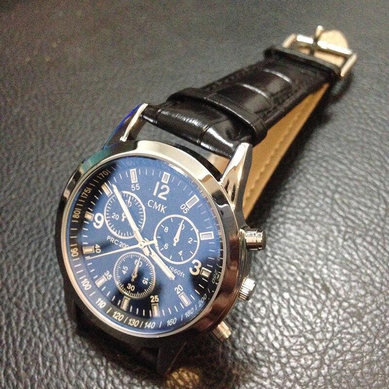 <font><b>Blu-ray</b></font> Glass Fashion Waterproof <font><b>Men</b></font> Watches CMK Brand Genuine Leather Sport Male Quartz Clock Casual Mens Dress Wristwatches