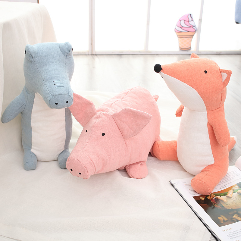 Baby Pillow Linen Stuffed Toys Dropshipping Fox Pig Crocodile Sleep Dolls Animal Toy Children Birthday Gift Room Decor