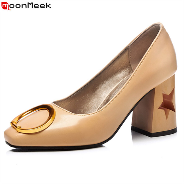 MoonMeek 2018 new med heels pumps women shoes round  toe slip on square heel with metal decoration fashion female shoes