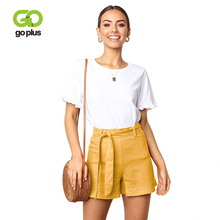 GOPLUS 2019 Summer Fashion Belted Boho Shorts Women Sexy High Waist Loose Shorts Casual streetwear Plus Size Party Shorts Female o ring detail self belted shorts