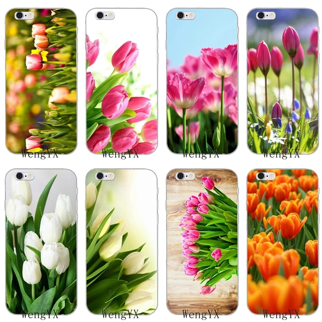 sale retailer 05e93 6310f US $1.99 |pink white yellow Tulip Flower Spring Slim silicone Soft phone  case For iPhone X 8 8plus 7 7plus 6 6s plus 5 5s 5c SE 4 4s-in Half-wrapped  ...