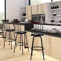 Набор из 3 Стальных каркасов PU кожаный поворотный барный стул 360 градусов поворотный стул дизайн стул набор с порошковым покрытием сталь