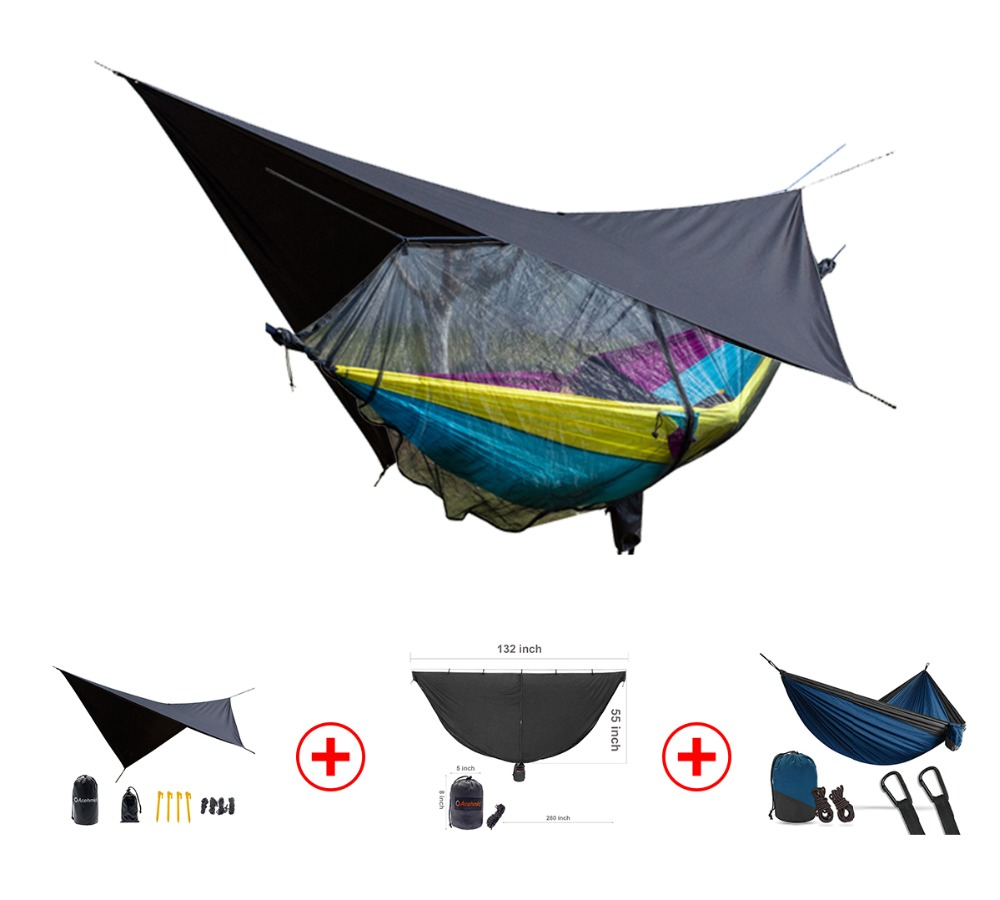 3 in 1 waterproof rain tarp can be used as a mat easy to set mosquito net portable double person hammock in one package 3 in 1 waterproof rain tarp can be used as a mat easy to set mosquito net portable double person hammock in one package