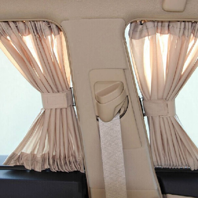 2 x 50L Stretchable Aluminum Rail Car Side Window Sunshade Curtain Auto Window Sun Visor With Elastic Cord - Black Beige Gray