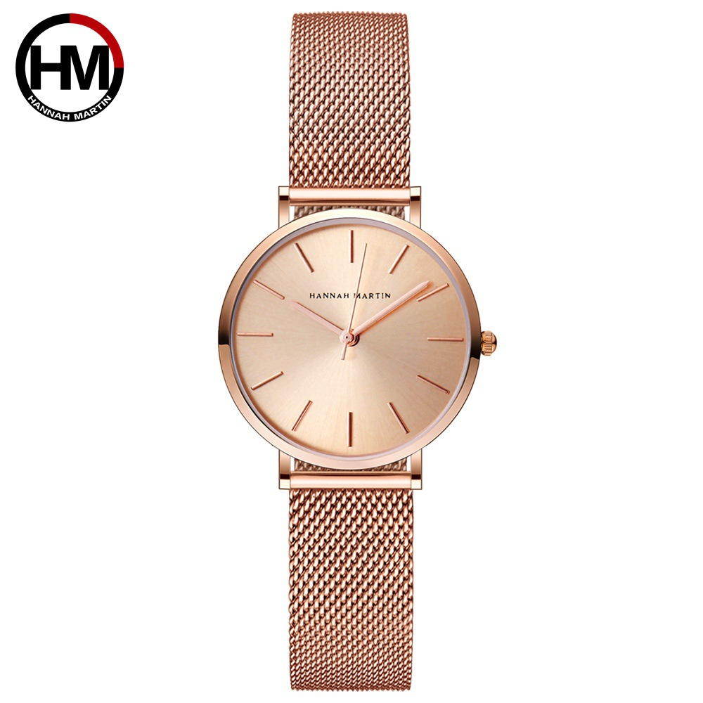 Image 2 - Hannah Martin Fashion Casual Women Watches Rose Gold Simple Ladies Watches Quartz Wristwatches relogio feminino Clock Gift Box-in Women's Watches from Watches