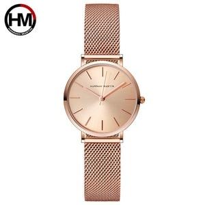 Image 2 - Hannah Martin Fashion Casual Women Watches Rose Gold Simple Ladies Watches Quartz Wristwatches relogio feminino Clock Gift Box