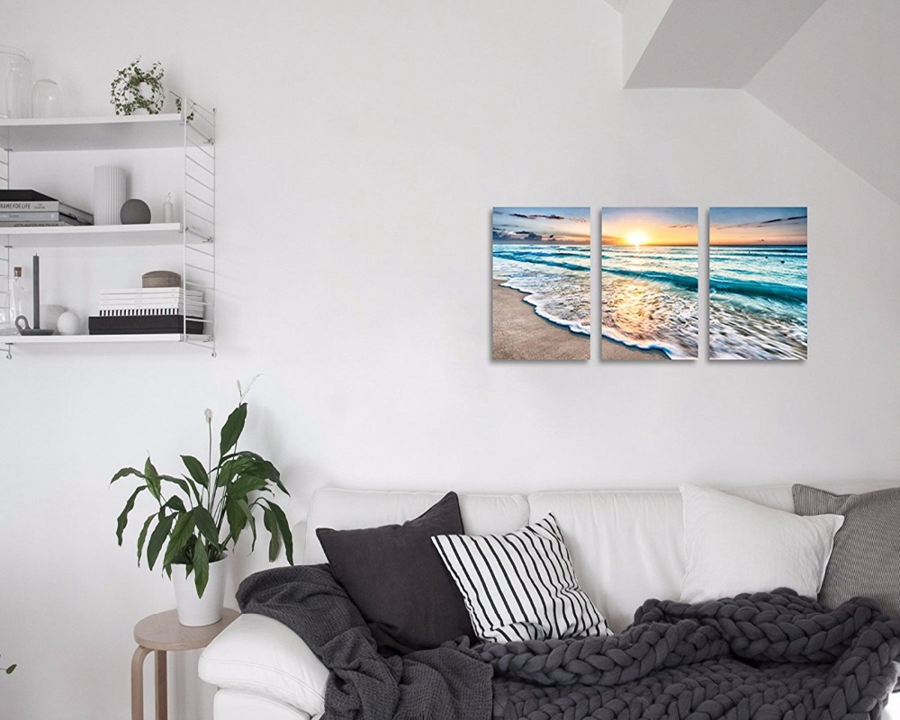 3piece Painting Sea Beach Wall Art Oil Painting for Home Decor ...