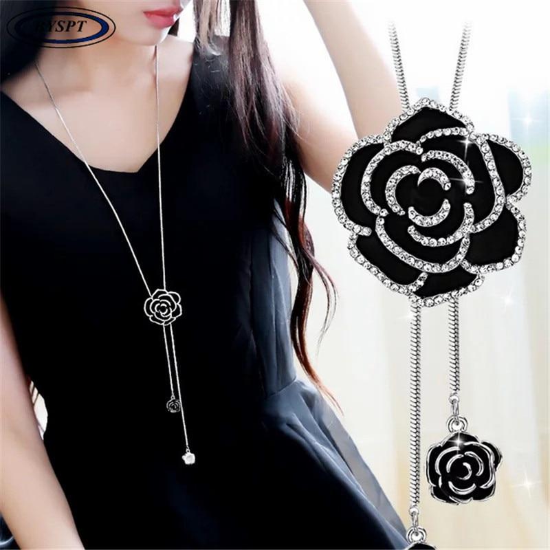 Byspt Циркон Black Rose цветок Длинные Цепочки и ожерелья свитер способа цепи металлические цепи Хрустальный цветок Подвески отрегулировать