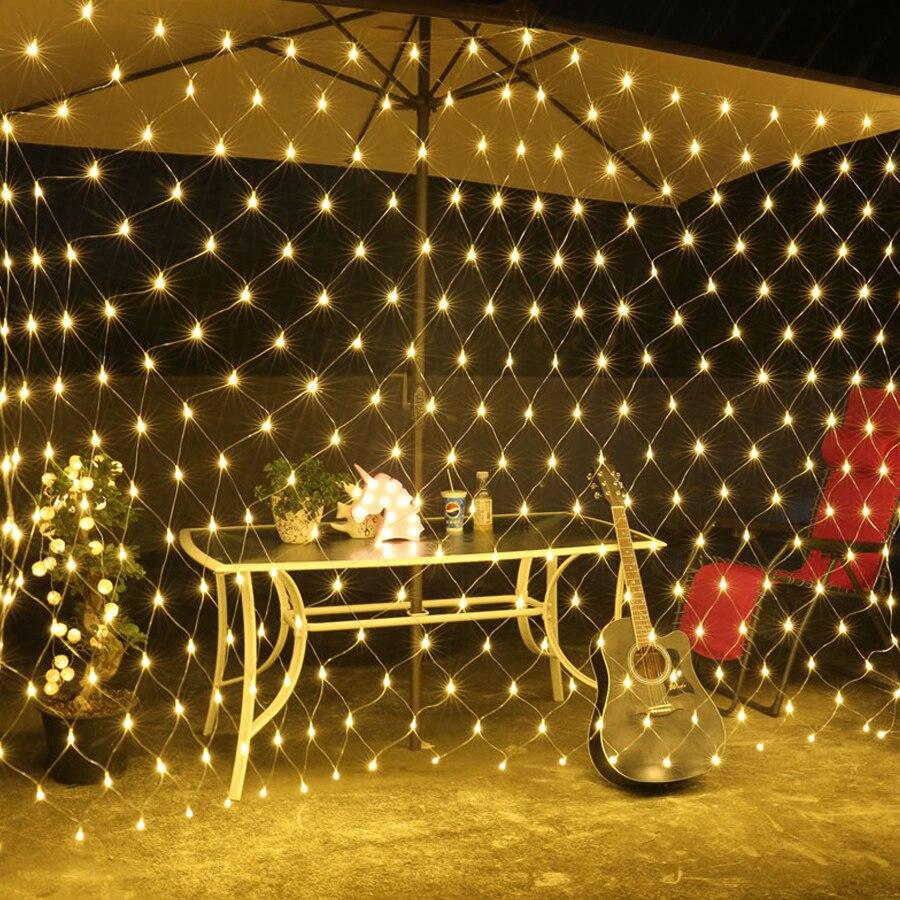 BEIAID 2x2M 3X2M 6Mx4M Christmas Led Net Mesh Fairy String Light Outdoor Landscape Wedding Holiday Icicle Curtain Net Light