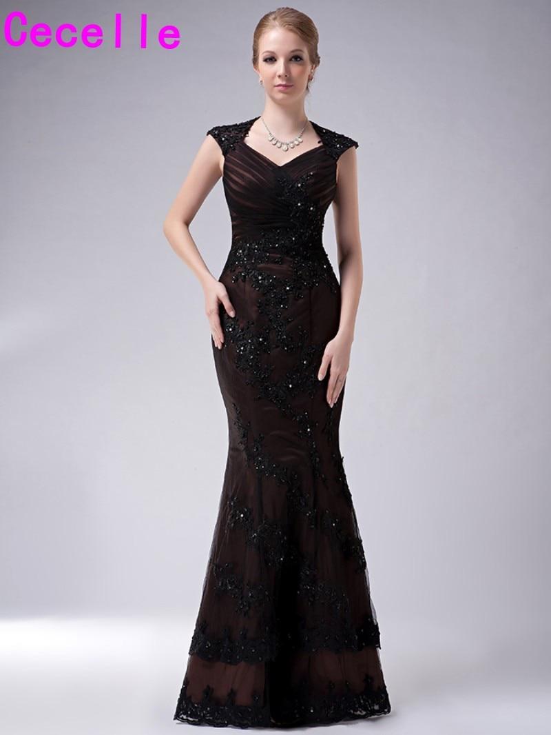 Длинное Длина Русалка чёрный; коричневый для матери невесты Платья для женщин Формальные бисера Кружево аппликации сексуальное платье с открытой спиной для мам