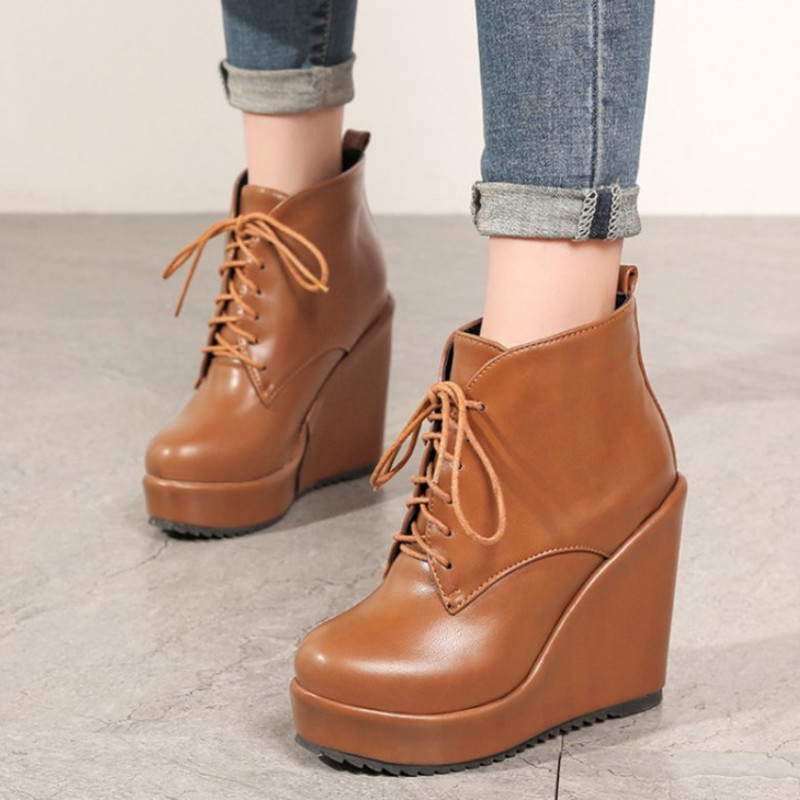 New Leather Shoes Women High Boots Platform Wedge Shoes