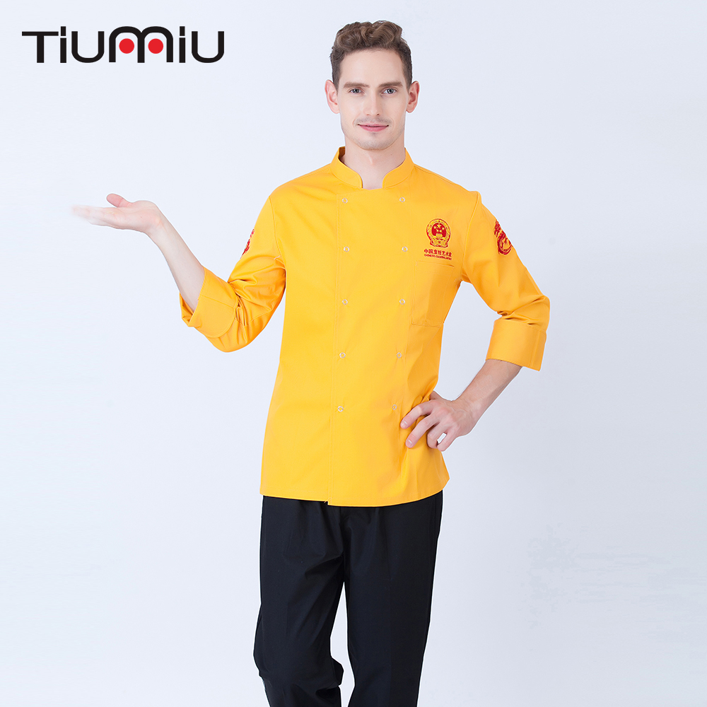 Long Sleeve Chef Jackets Stand Collar Double Breasted Chinese Restaurant Cafe Bakery Waiter Work Wear Clothing Tops Uniforms 3XL