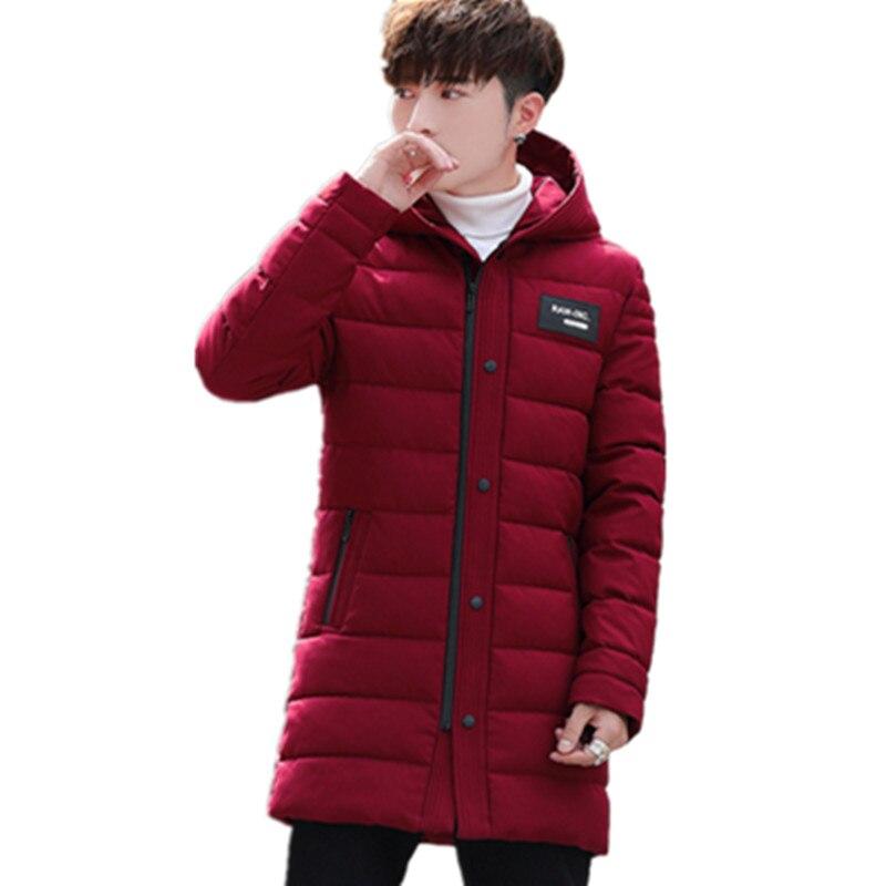 626ef5a13 € 33.91 45% de DESCUENTO|Moda 2018 nuevo ropa chaquetas hombres largo  invierno grueso encapuchado escudo Slim fit hombres Parka algodón acolchado  ...