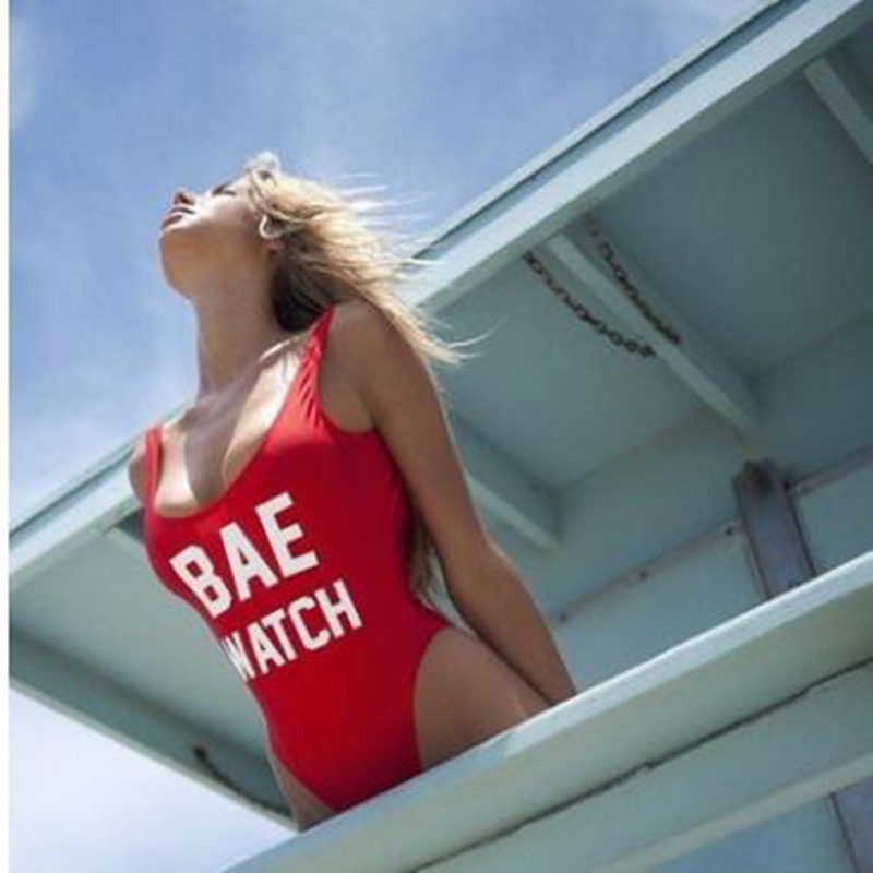 2016 hot BAE WATCH red bodysuit swimwear one piece swimsuit Jumpsuits Costume sexy padded swimwear WOMEN letter printing